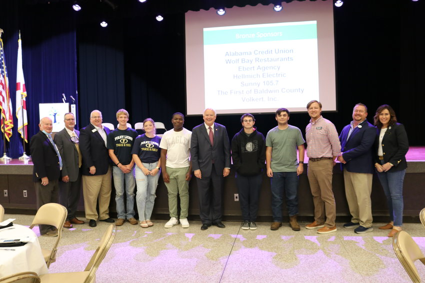 Jo Bonner with students and staff of Foley High School, city and county elected officials, and local business leaders.