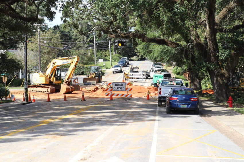 Fairhope crews work on utility upgrades on Church Street. The project is part of utility improvements included in the $113.6-million municipal budget approved by the City Council.