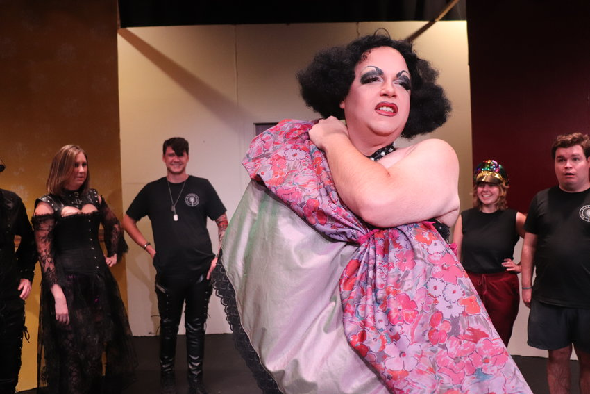 """Chasity Belt, struts as Frank-N-Furter in the upcoming production of """"Rocky Horror Show"""" by Exit Stage Left in Foley."""