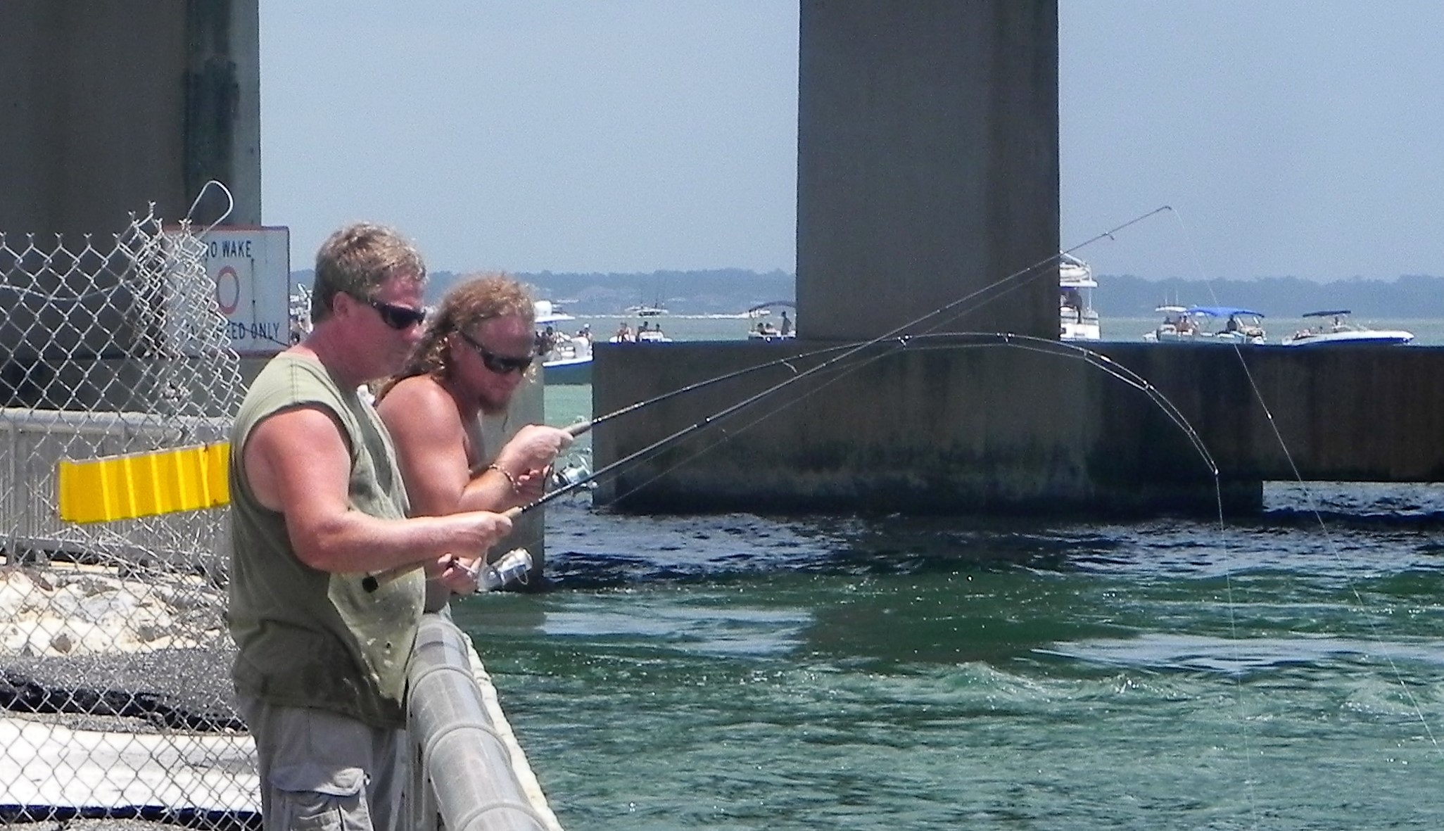 Scenes from the reopened fishing wall at Perdido Pass.