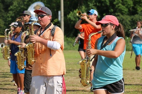 Brody Smith and Amber Blackmon brave the heat during band camp.