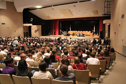 Students filled the L.D. Owen Performing Arts Center at Faulkner State Community College to see the Alabama Supreme Court in action.