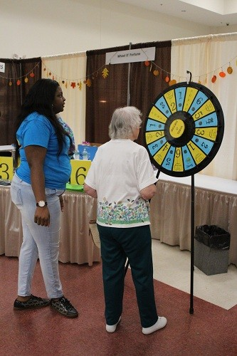 Spinning the wheel for prizes.
