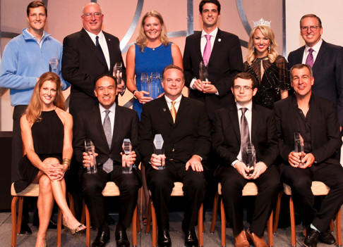 Kristin Fasbender (top row, third from left in blue), associate director of championships and alliance for the NCAA, accepted the award.