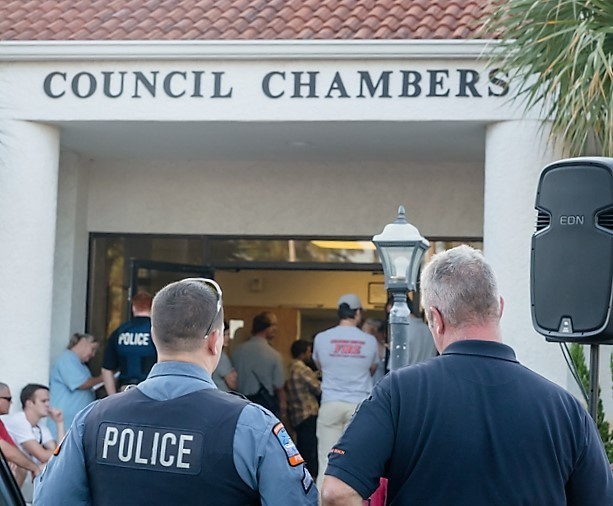 There was a overflow crowd of Orange Beach city employees at the Nov. 1 council meeting