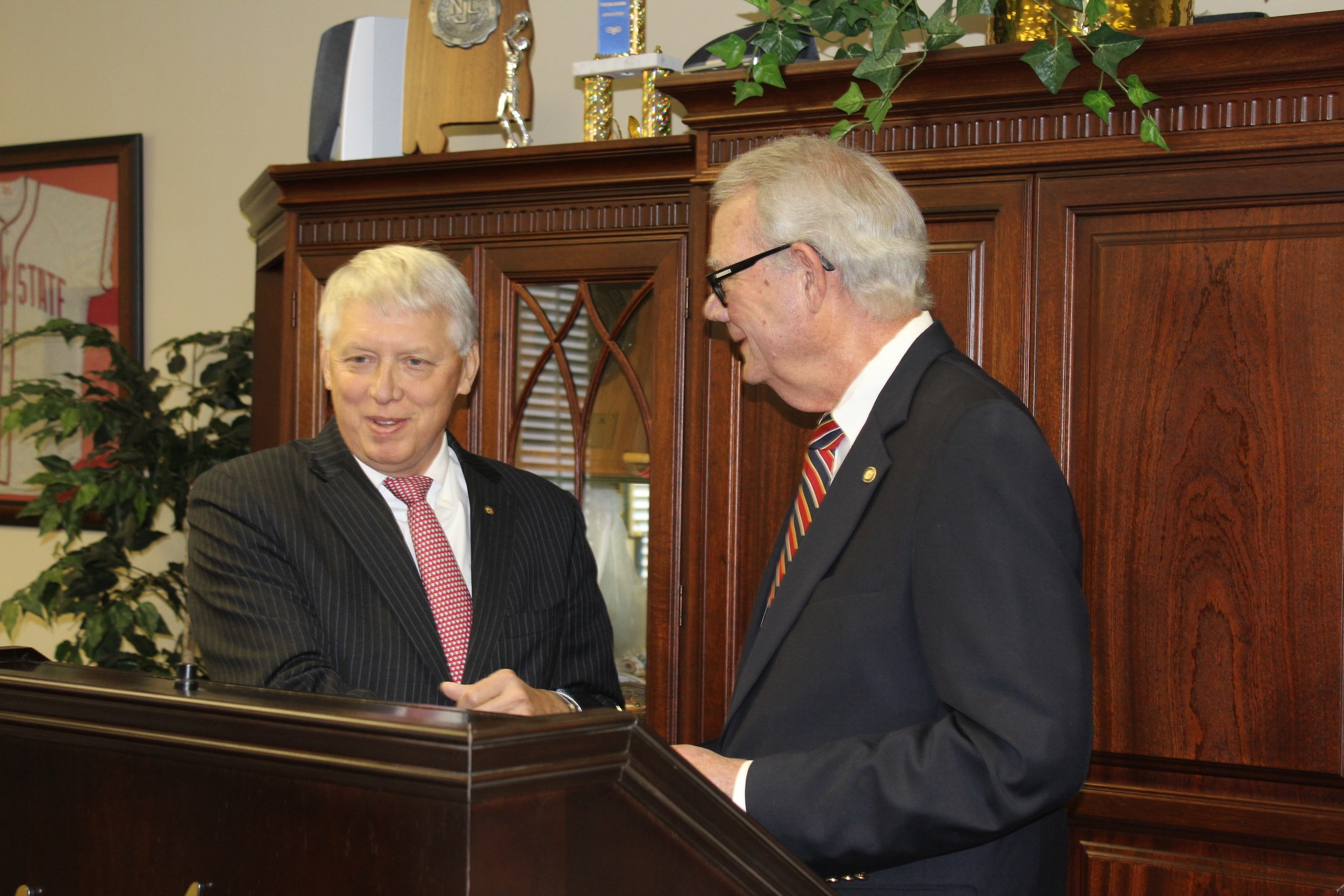 "University of South Alabama President Tony Waldrop, left, and Coastal Alabama Community College President Gary Branch announced the creation of a program called ""Pathway USA"" in January 2016 in the Crimson Room on the CACC campus in Bay Minette."