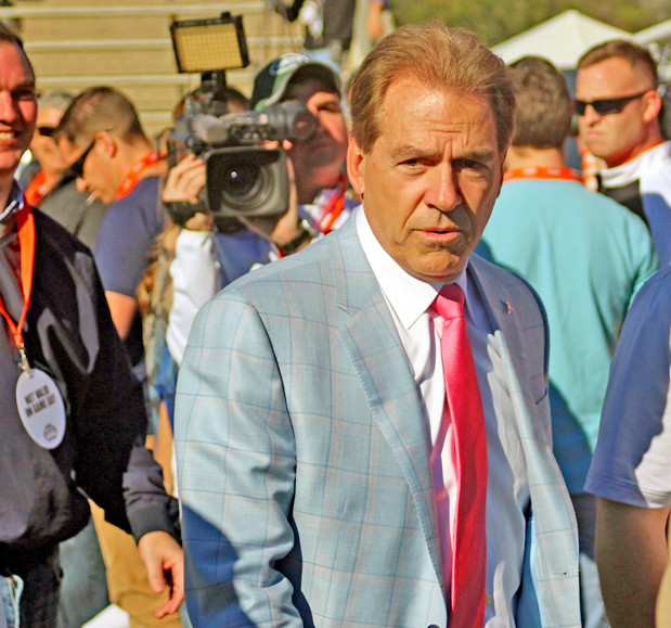 Alabama head coach Nick Saban at Ladd-Peebles Stadium.