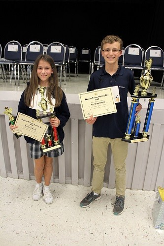 2017 Baldwin County Spelling Bee Champion Fletcher Ard of Elberta Middle and runner-up Kate Ginger of Bayside Academy.