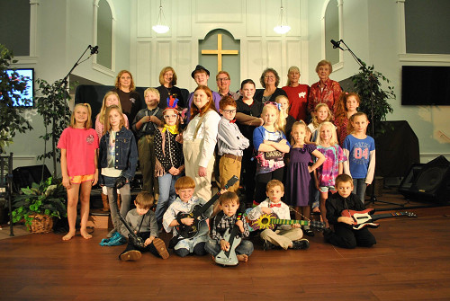 Pictured are, fourth row, from left, Barbara Campbell, BJ Newberry, Pastor Sean Peters, Nancy Cosby, Laurie Foley, Barbara McKinney; third row, from left, Reagan Beckham, Aiden Drake, Alex Campbell, Isabella Cosby, Dixie Baggett, Grace Moody, Danielle Godwin; second row, from left,