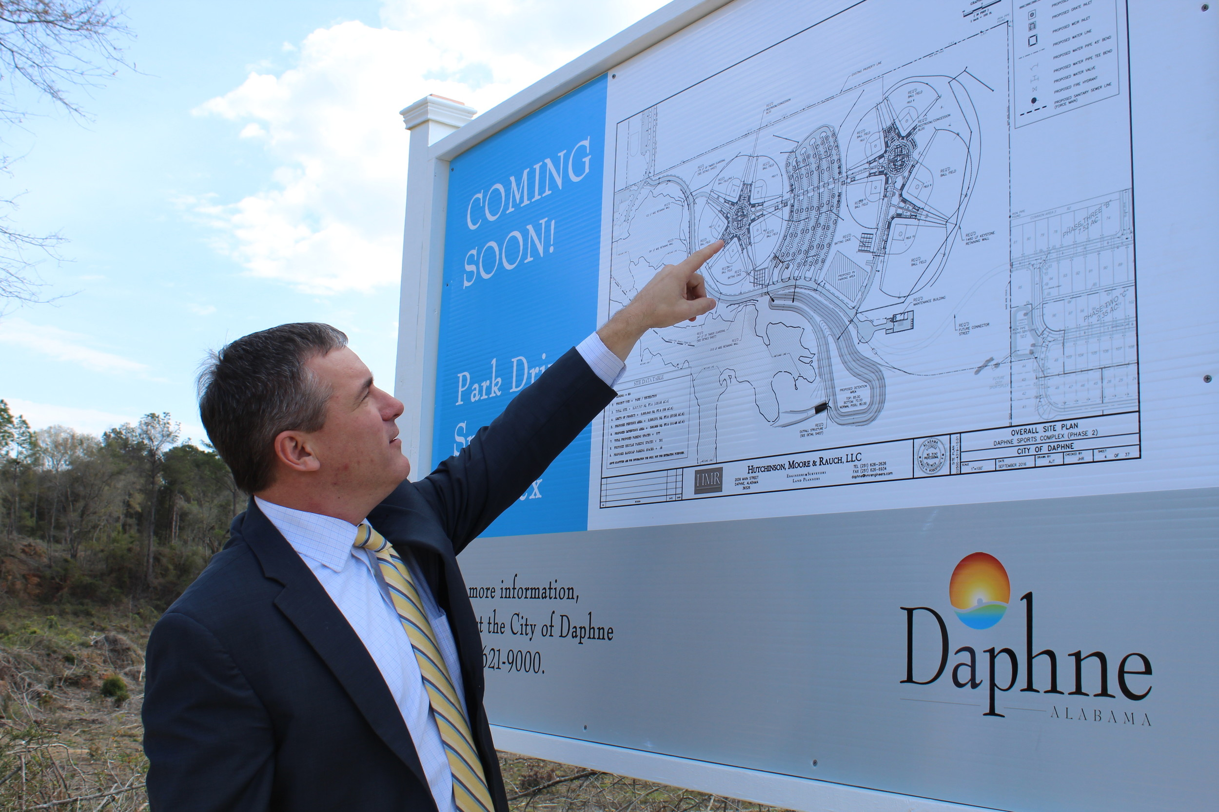 Mayor Dane Haygood shows residents the site plan for the 116-acre complex.