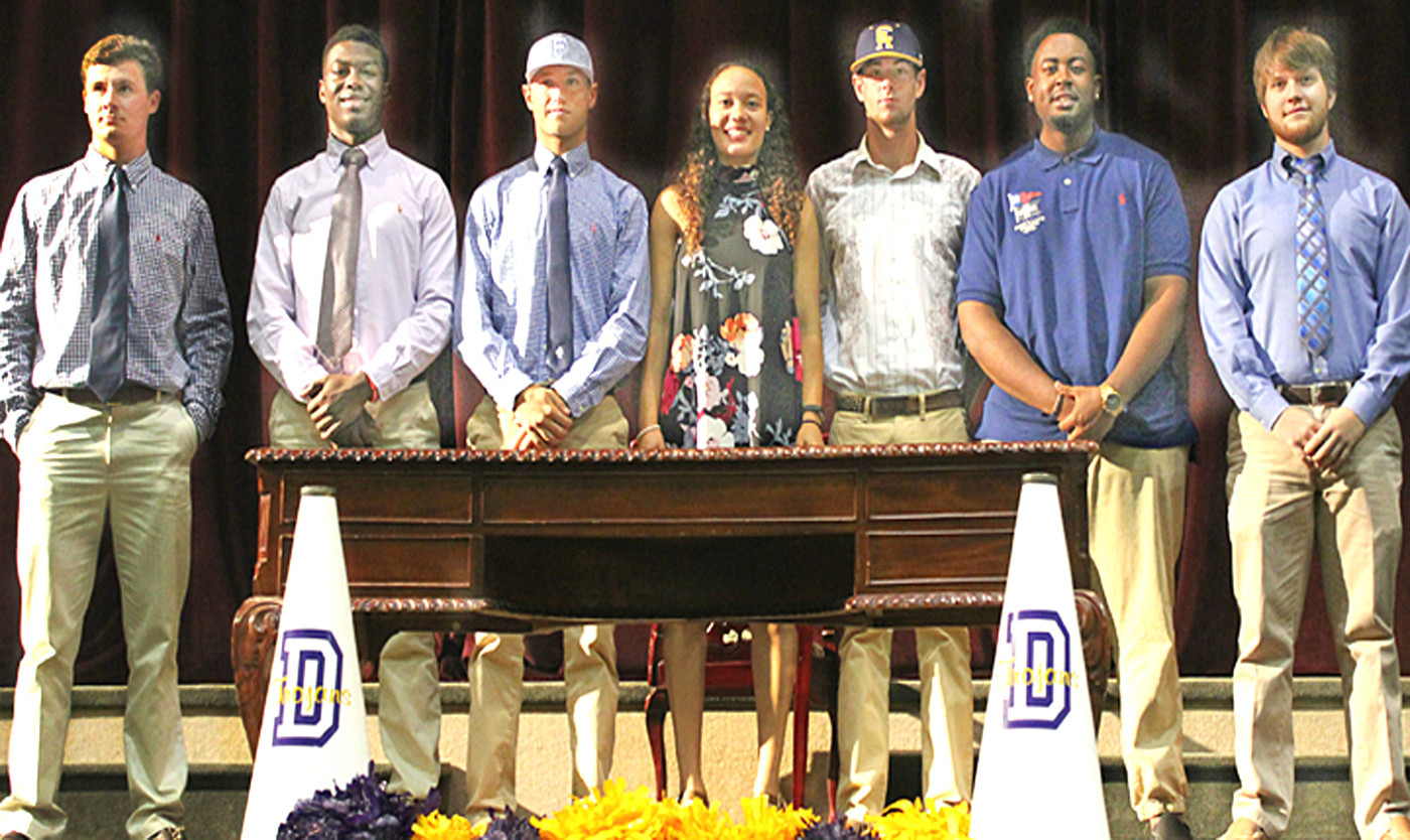 2017 collegiate-signing student athletes at Daphne High: In no particular order, Hunter Strong, Myles Henderson, Brandon Bowers, Krysta Wright, Noland McGuffy, Courtland Griffin, Harrison Comerford.