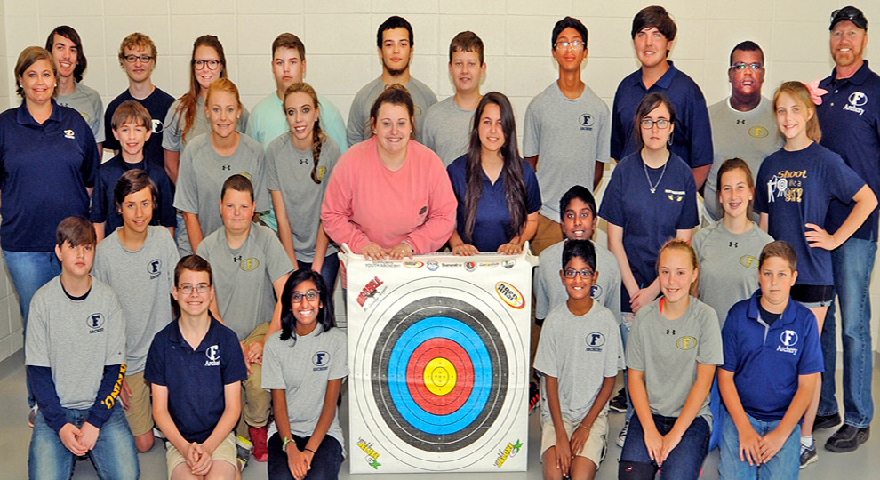Team Foley's Archery Lions are, from left, (back row) Caleb Hooper, Corey Parker, Peyton Brokowsky, Denver Wolff, Curtis Weeks, Zayn Hall, Rodrigo Dorry, Dalton Anderson, Raven Pope, Coach Tim Boutwell, (middle row) Coach Shea Hinson, Lenox Clark, Kalee Hinson, Bri Watters, Amie Taylor, Morgan Price, Breanna Atkinson, Erin Boutwell, (back kneeling row), Dalton Day, Kaleb Barker, Thomas Michael, Aylssa Moore, (front kneeling row) Tyler Roberts, Katherine Michael, Luke Michael, Abbie Bosch, and Darren Williamson. To help the Lions get to Louisville and beyond, contact coach Hinson at: Shinson@bcbe.org for more information.