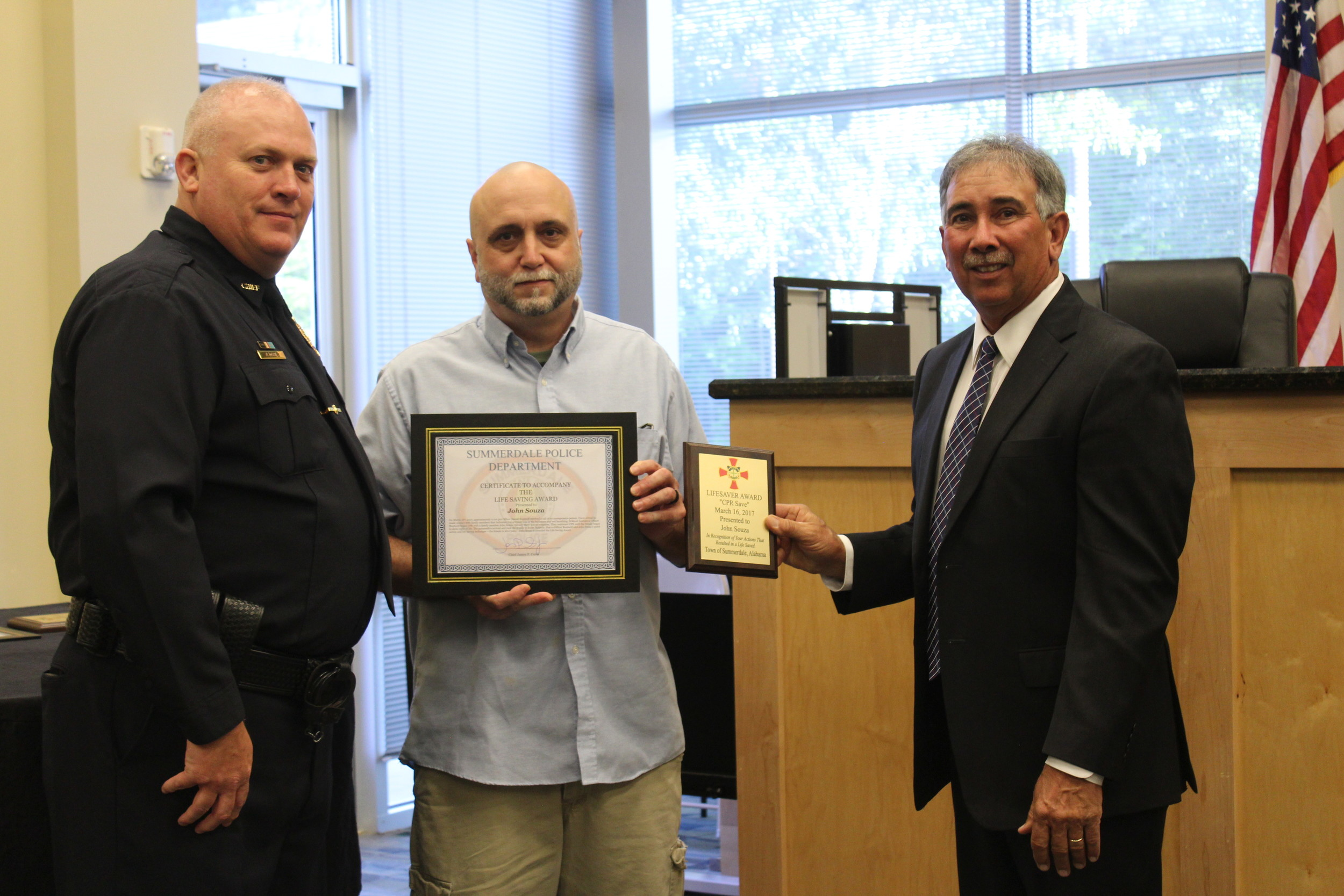 John Souza received one of three lifesaving awards at the Summerdale Town Council meeting on April 10.