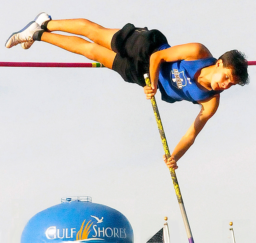 Bayside Academy junior Ahmad Al-Salem clears 13-feet, 2-inches for new county record in boys pole-vault.