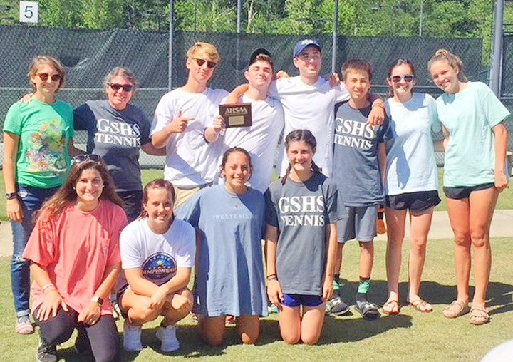 2017 GSHS Dolphins state-tournament tennis teams: From left, back row - Holly McCurdy, coach Deborah Whetstone, Jay Jackson, Jake Lartigue, Wes Lartigue, Sam Dersch, Amanda Cortes, Maddie Scarbrough;