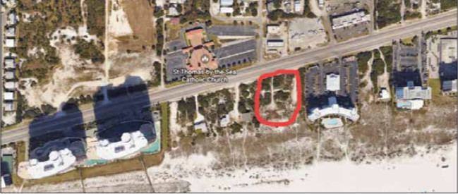 A look from above at the proposed site of the parking lot PUD for Turquoise Place. In previous years, renters were parking directly across from the towers and crossing all five lanes of the beach road.