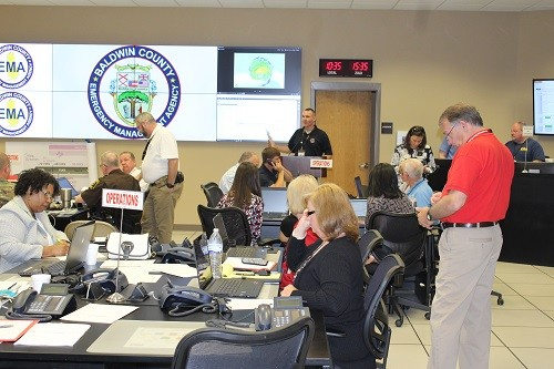 Emergency Management officials and Baldwin County department heads conduct a Tropical Event Exercise on Tuesday at the Baldwin County Emergency Management Agency's Emergency Operation Center in Robertsdale.
