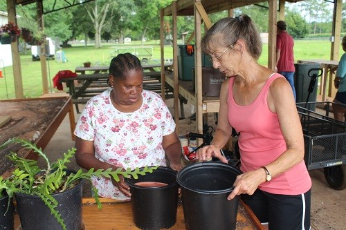 ARC's Billie Englett works with a client putting soil in pots preparing them for planting.