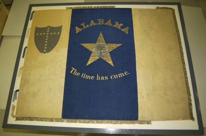 The Young Men's Succession Association flag was the first flag to fly over Fort Morgan in 1861 at the start of the Civil War.