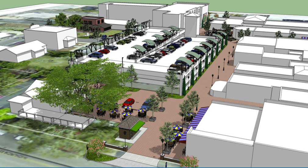 These artist's renderings for the Fairhope Parking Garage are a possible example of what the structure and surrounding areas could look like after the redesign to accommodate the city's new BRATS hub.