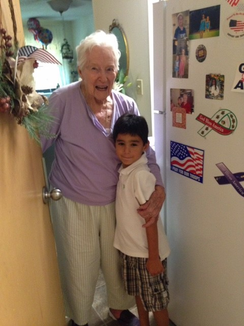 Olivia Bodeker, 104-year-old resident of AHEPA, with Henry Booth.