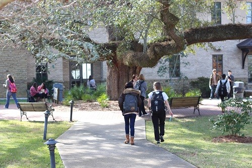 Students head to class on the Fairhope Campus.