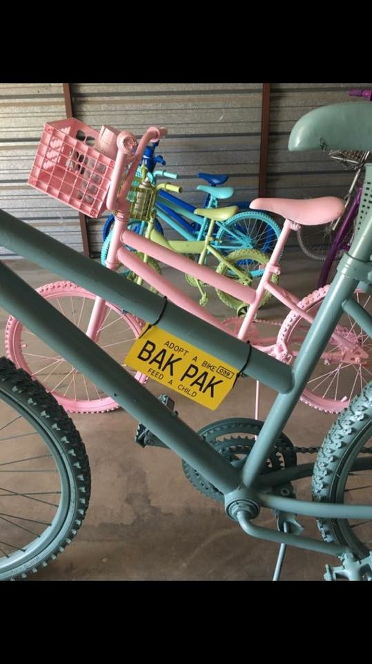 Finished bikes ready to be adopted for $135, the price to feed a child for a year in our community. All bikes were donated to Liberty Church and then cleaned, painted, and decorated by volunteers.