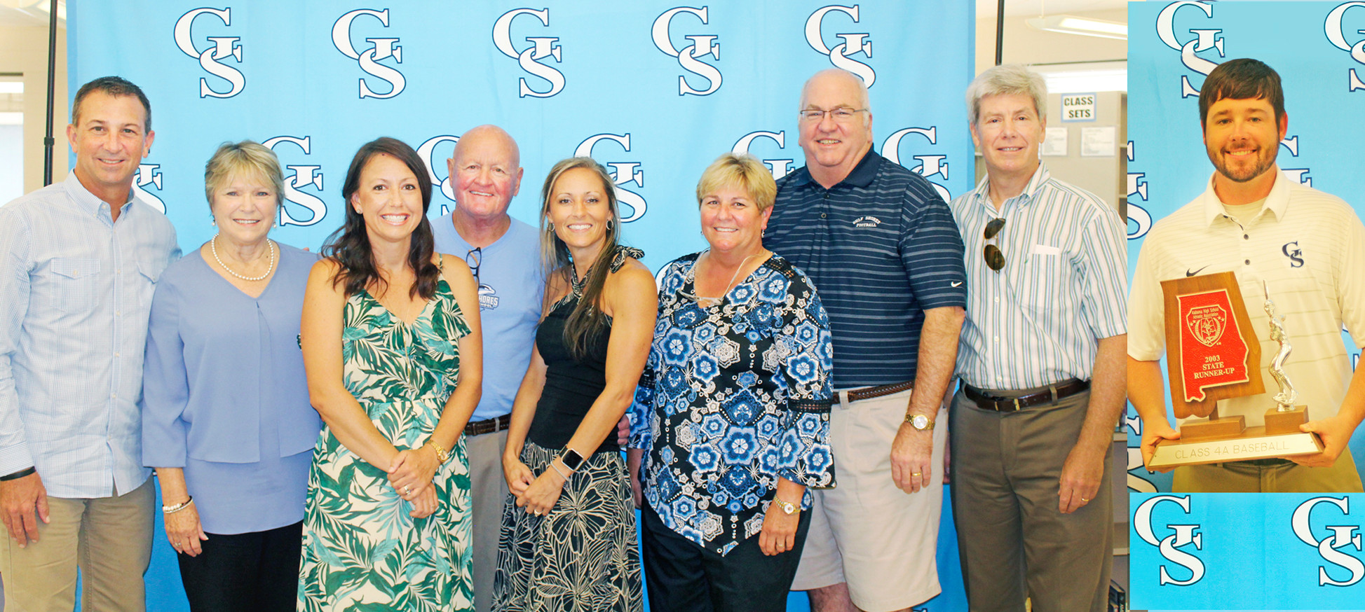2017 GSHS Hall of Fame, from left: Wren Aaron, Andrea (Joseph) Holmes, Avery (Berrey) Forrest, Al Borchardt, Alisha (Hamrick) Stokes, Karen Collins, David Lee, and Thomas Lee. Inset, Colbey Cleckler. Not pictured, Glenn Lewellen.
