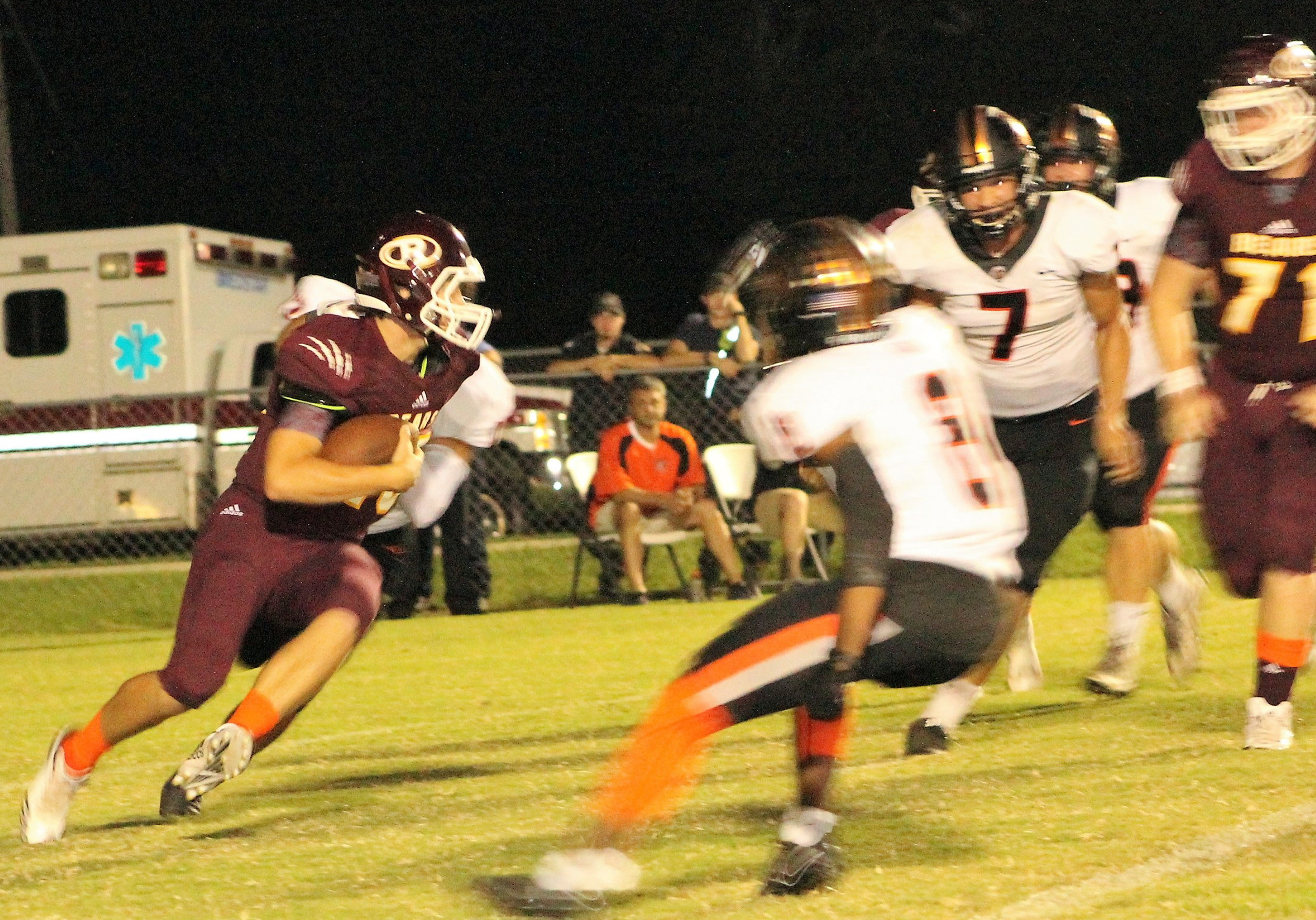 Robertsdale's Tristian Stevens looks for room to run.