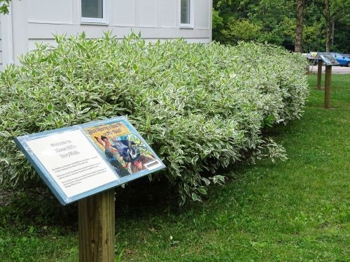 A photo of the beginning page for Moose Hill's StoryWalk® trail in Massachusetts. Also displayed is the length between the pages, and one of the many ways the pages can be displayed.