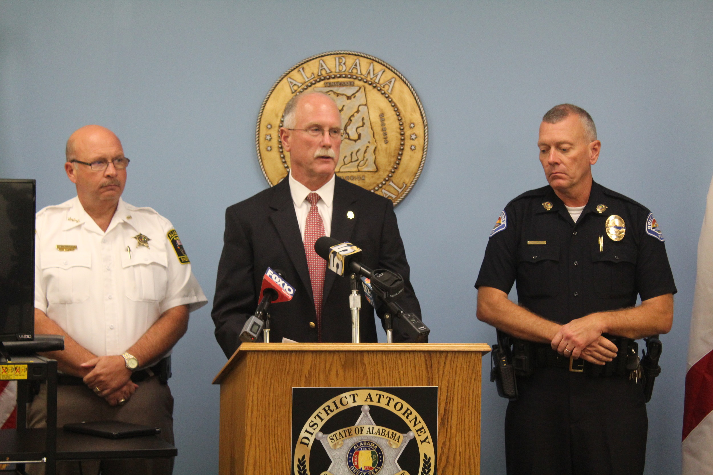 From left, Baldwin County Sheriff Hoss Mack, Baldwin County District Attorney Bob Wilters and Gulf Shores Police Chief Ed Delmore (head of the Baldwin County Major Crimes Unit) address the media on the officer-involved shooting death of Jonathan Victor that occurred in May 2017.