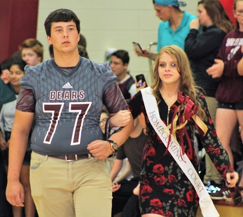 Sophomore Bailey Hart with escort Joshua Cain.