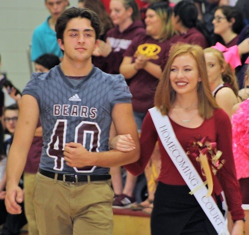 Freshman Carlie Hance with escort Sam Edmond.