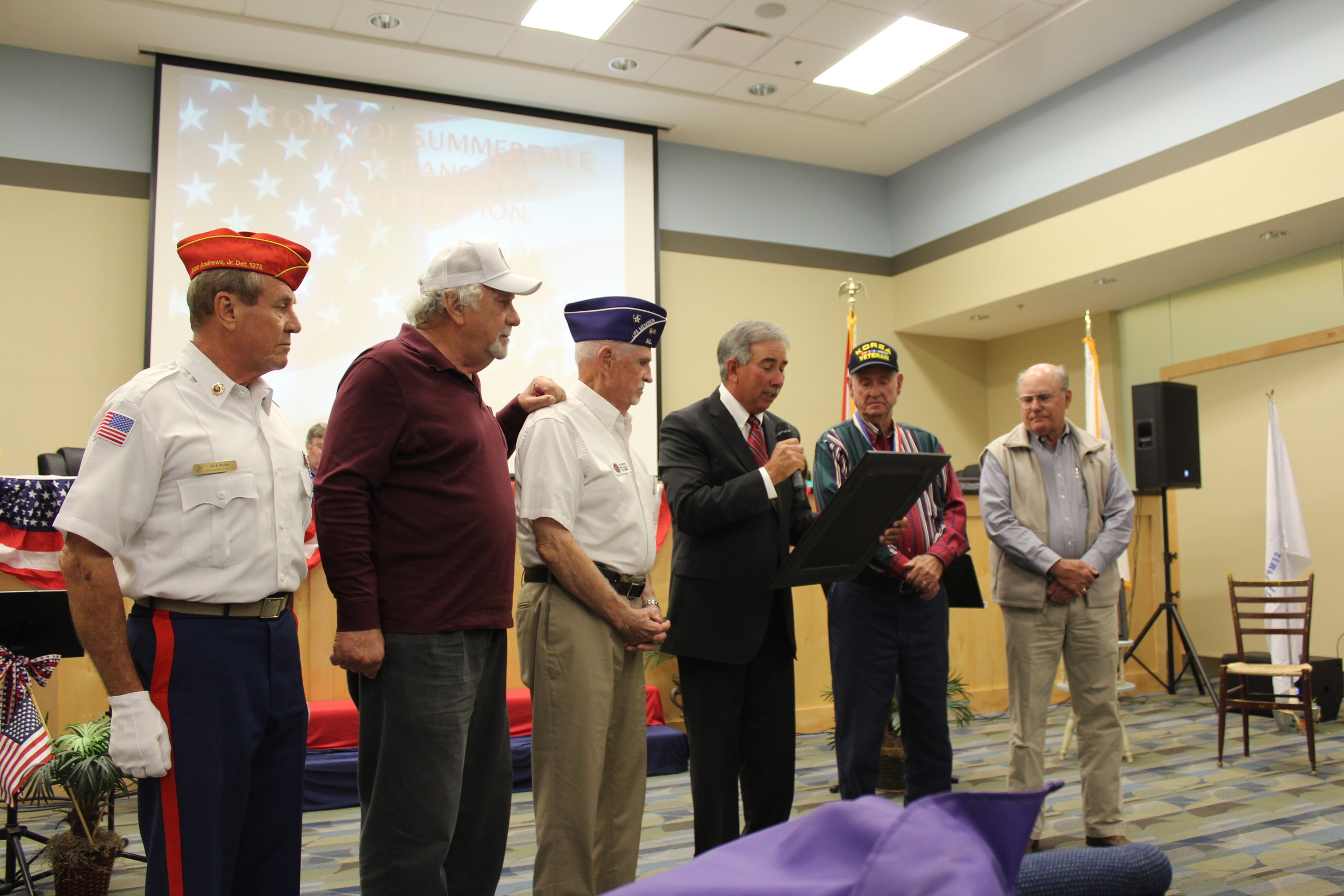 Summerdale hosted a program for veterans on Nov. 13, during which Mayor David Wilson proclaimed the town to be a Purple Heart Community.