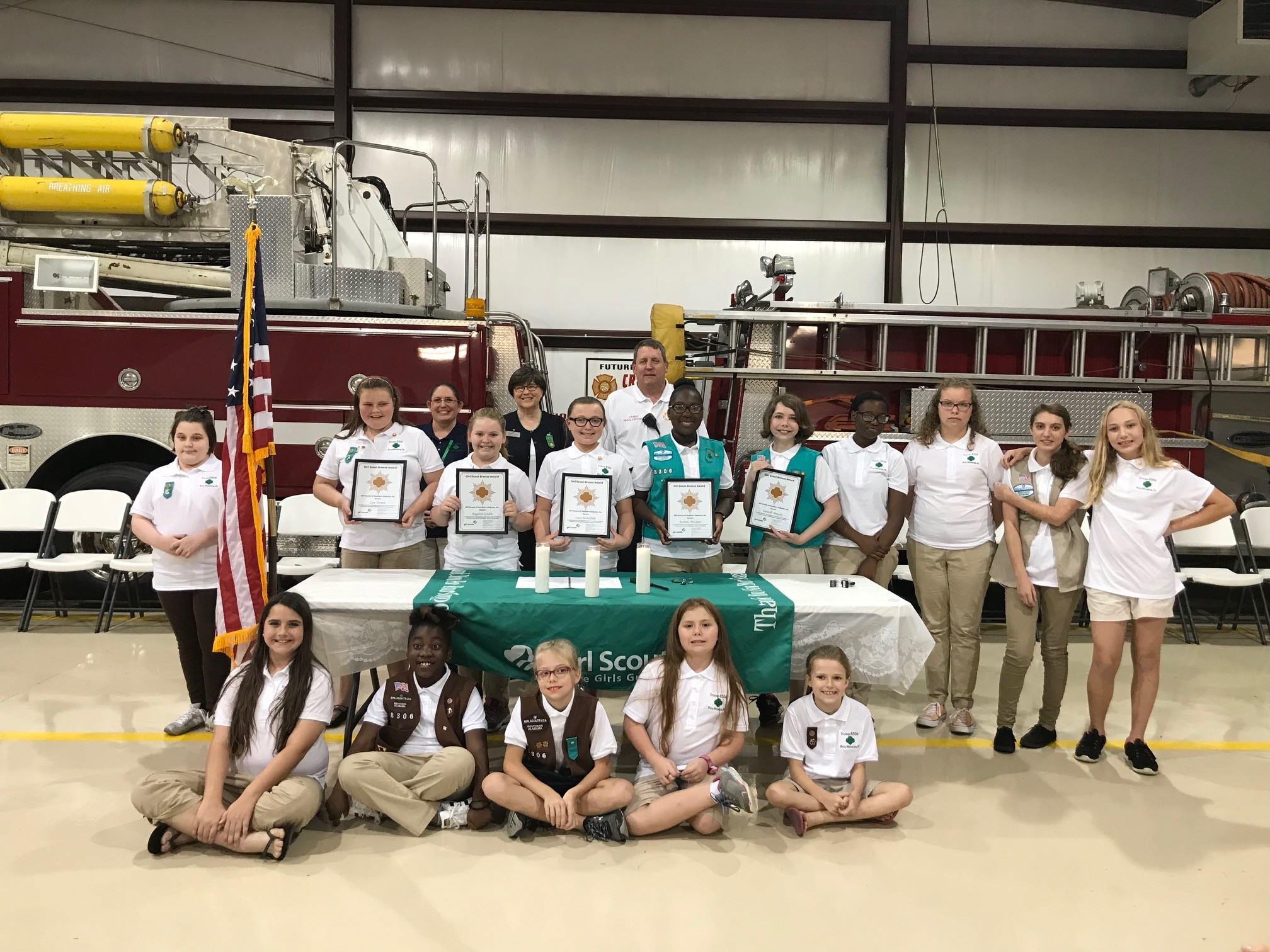 Girl Scouts 1: Girl Scout Troop 8306 of Bay Minette held their award ceremony at Crossroad's Volunteer Fire Department Station 1 in Bay Minette. Five scouts from Girl Scout Troop 8306 earned their Bronze Award. They are: Those that received the Bronze Award are: Angelina Grubbs, Zoie Vernon, Jasmine McCants, Lucy Satterfield and Danielle Murphy.