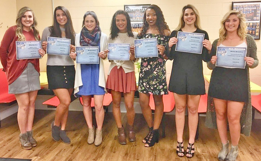 First Team (from left), Abby Borden – Wallace State CC, Hannah Fernandez – Coastal Alabama CC-South, Megan Zuck – Snead State CC, Lexie Riggins – Wallace State CC, Artasia DeBose – Lawson State CC