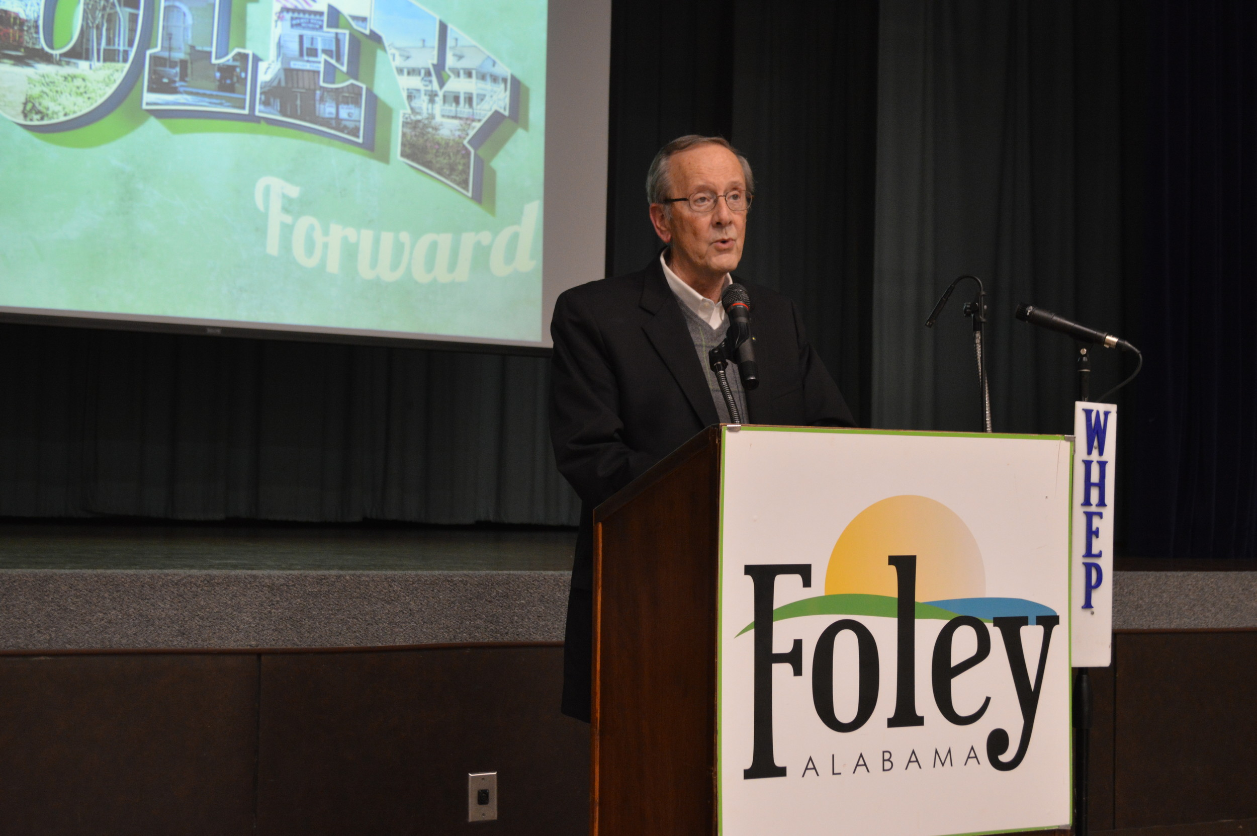 "Mayor Koniar welcomed everyone to the ""Moving Foley Forward"" event, where the past, present, and future of the city's downtown area were discussed."