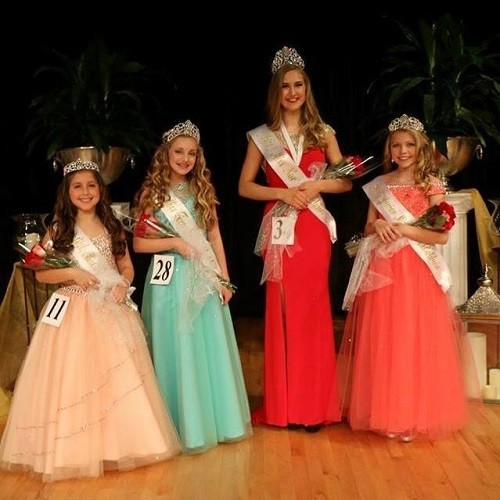 The reigning queens, from left, Little Miss North Baldwin, Cale Jones; Miss Teen North Baldwin, Emily Scarborough; Miss North Baldwin, Amanda Eversman;  and Junior Miss North Baldwin, Jillian Dute. The new winners will be selected March 3.
