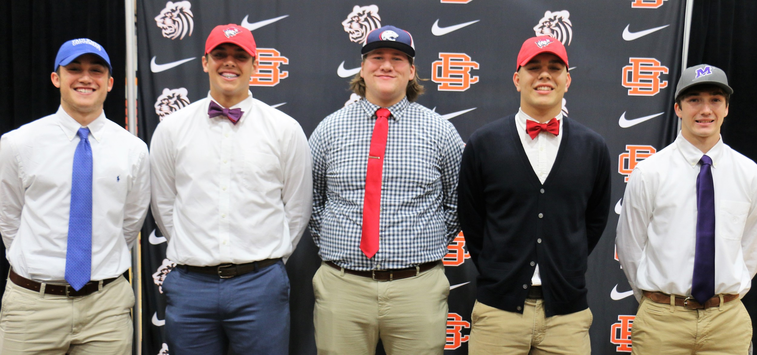 From left, Eli Powell, Chase Overstreet, Tyler Jernigan, Cade Stamps and DJ Lamkin at Feb. 8 BCHS signing ceremony.