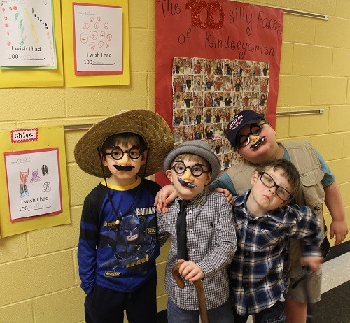 Students dressed as what they felt they would look like at 100 years old. Pictured are, from left, Grant-Slayton Valinsky, Jon Luke Hall, Lochlan Durant and Trip Stidham.