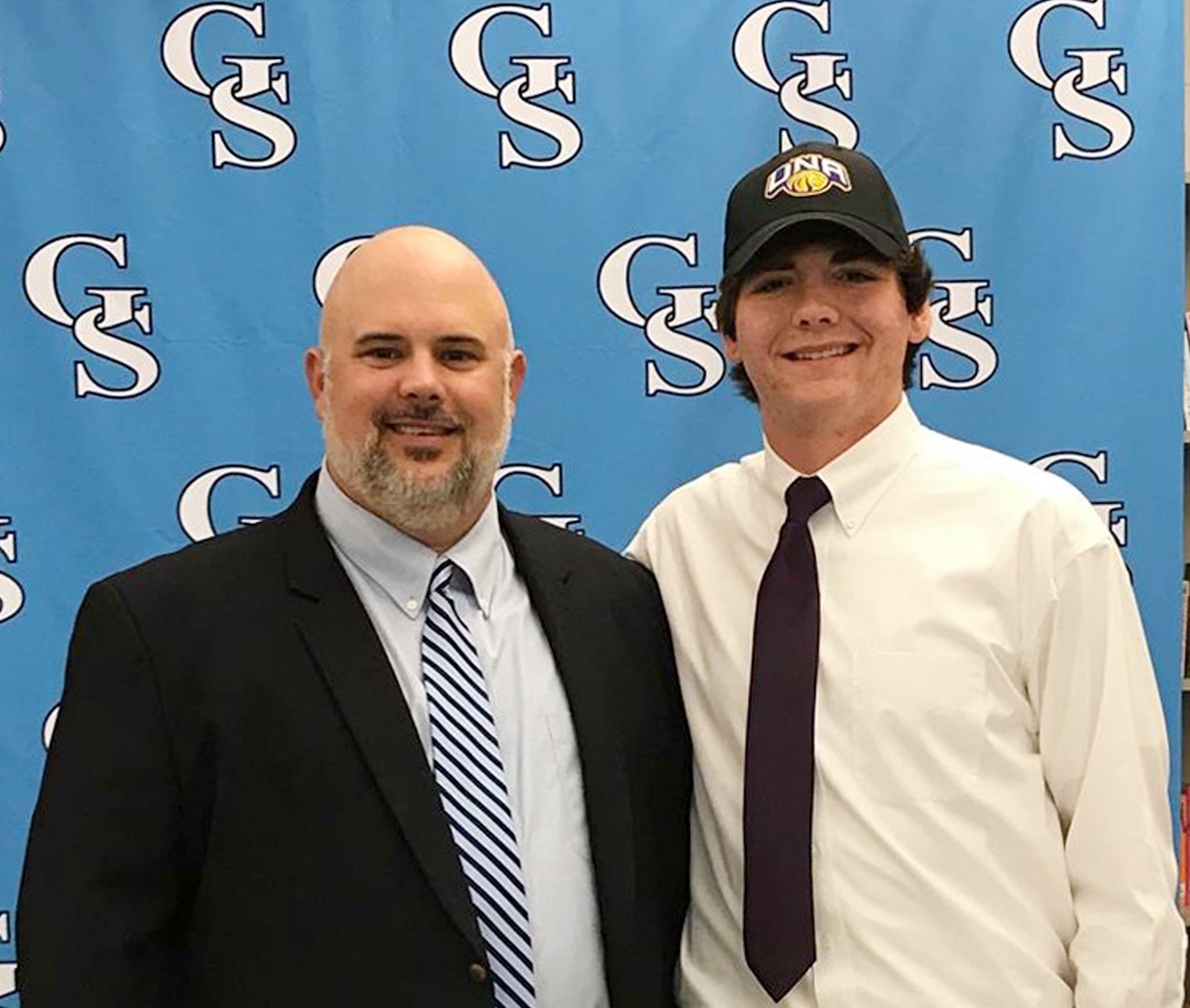 GSHS Athletic Director Matt Blake with Rett Files on signing day.
