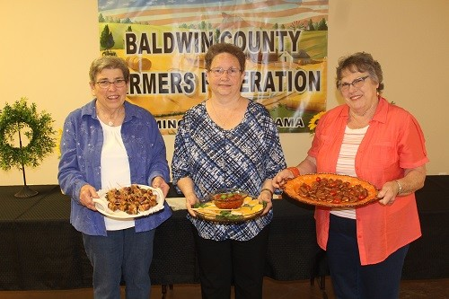 Baldwin County Heritage Cooking Contest winners were, from left, Faye Fiddler, third; Diane Sopr, first place; and Barbara Krob, second.