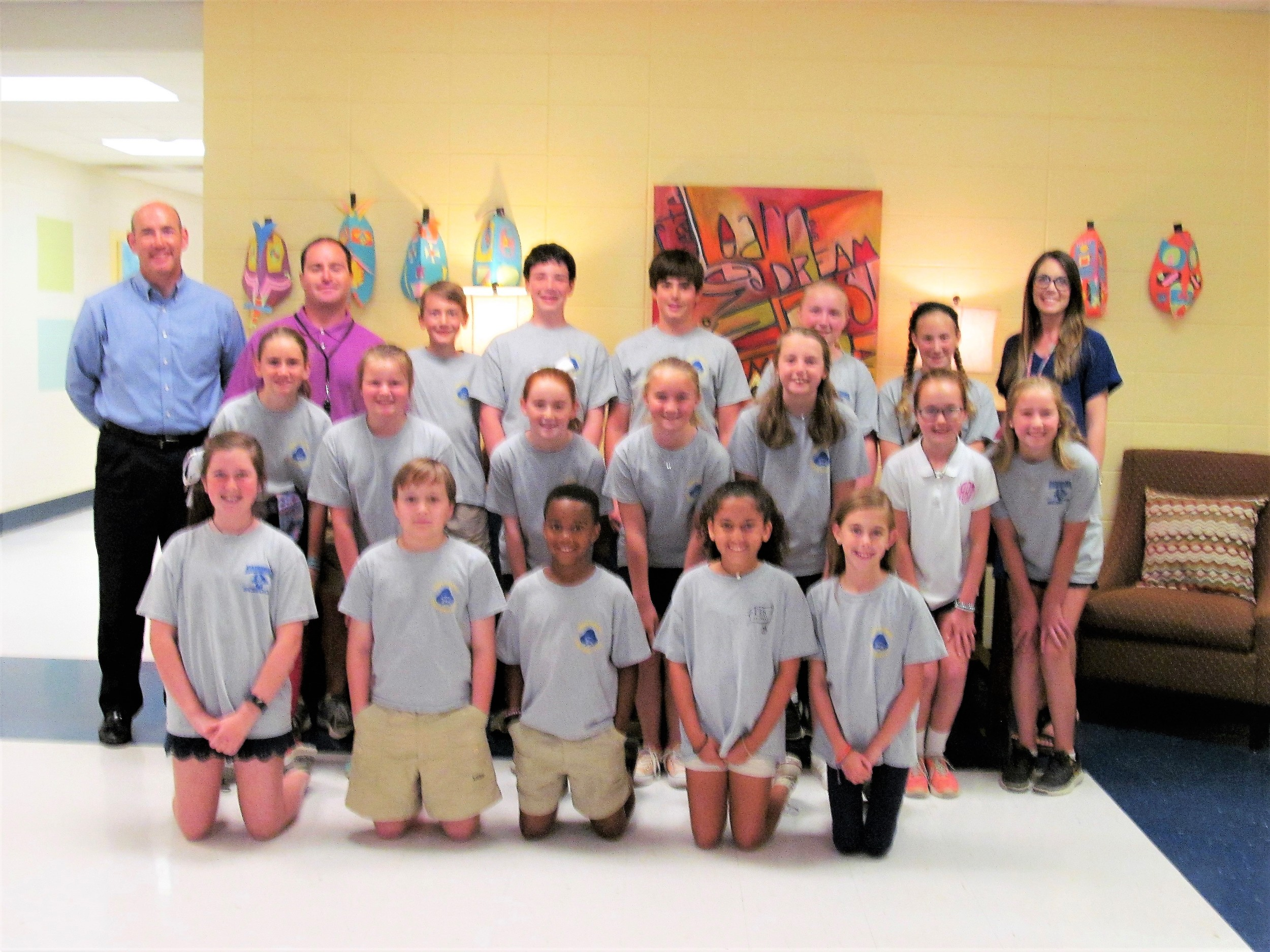 Baldwin Bone & Joint recently awarded Fairhope Intermediate $300 for their school's PE program for collecting the most shoes in the 2018 Many More Miles Campaign. Student representatives from each class spearheaded the campaign and collected 600 pairs of shoes to benefit the homeless ministries of Wings of Life, Discovery Ministries, and the Salvation Army Running Forward program. Pictured with the student representatives are Greg Shoemaker, Practice Administrator for Baldwin Bone & Joint, Coach Ryan Hymel, and teacher, Emily Steigerwald. Rockwell Elementary took second place and Mary B. Austin Elementary third.