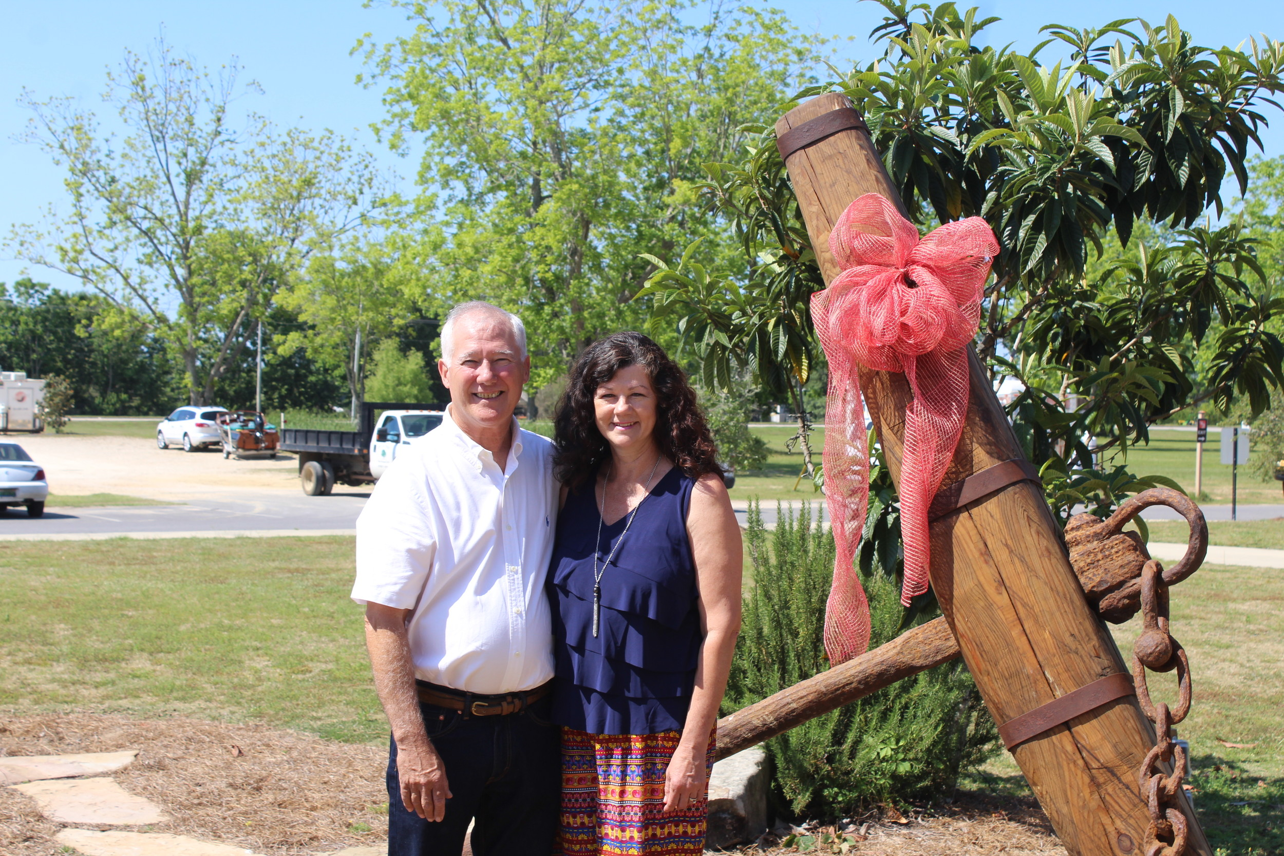 Jeff and Tammy Forland, who donated the anchor to the City of Foley.
