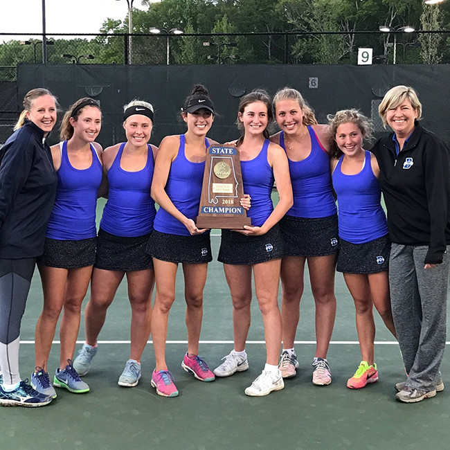 2018 Bayside Academy's Girls Tennis team and coaches with their 2018 AHSAA 1A-3A State Championship Blue Map trophy.