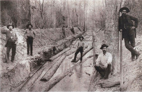 Shelby Ditch, a man-made ditch where lumber was floated down to river and on to sawmills or sometimes be  loaded on barges.