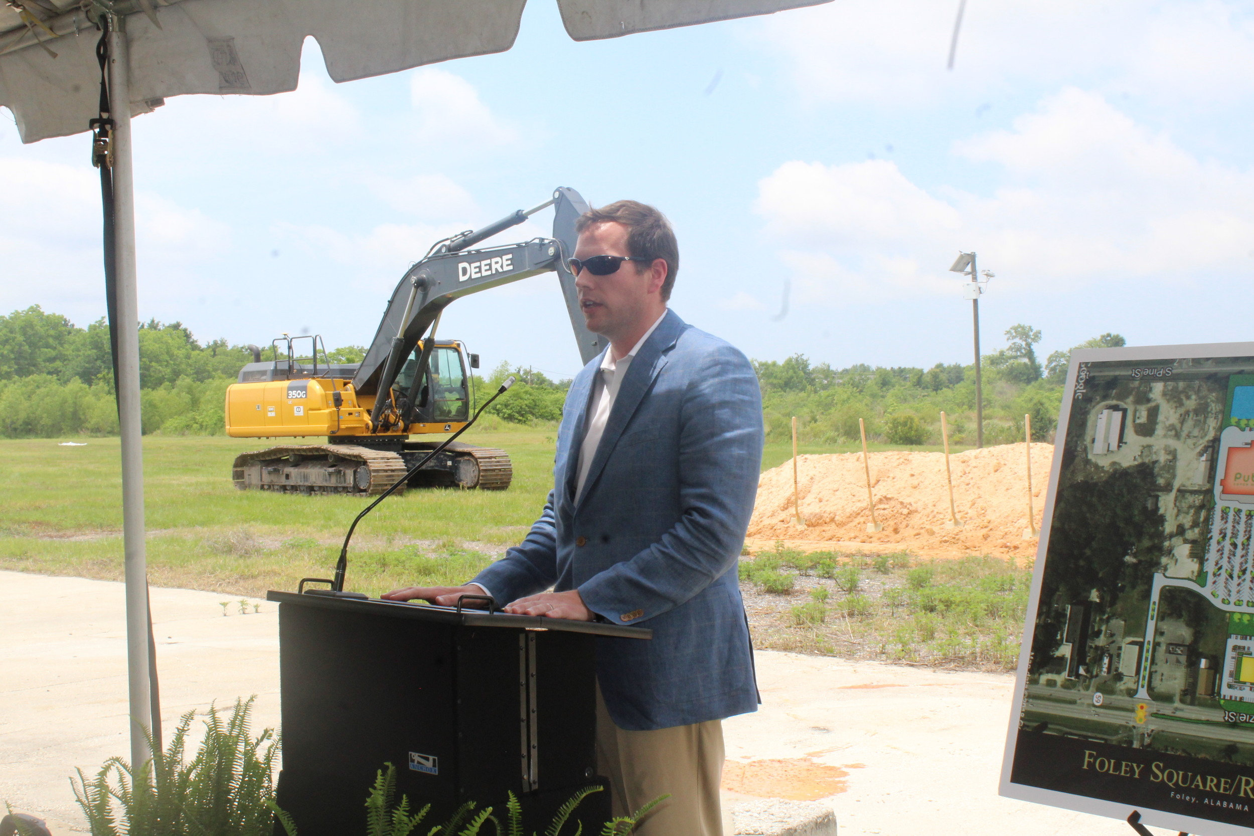 Philip Burton, president and CEO of Burton Property Group, said a few words before the groundbreaking.