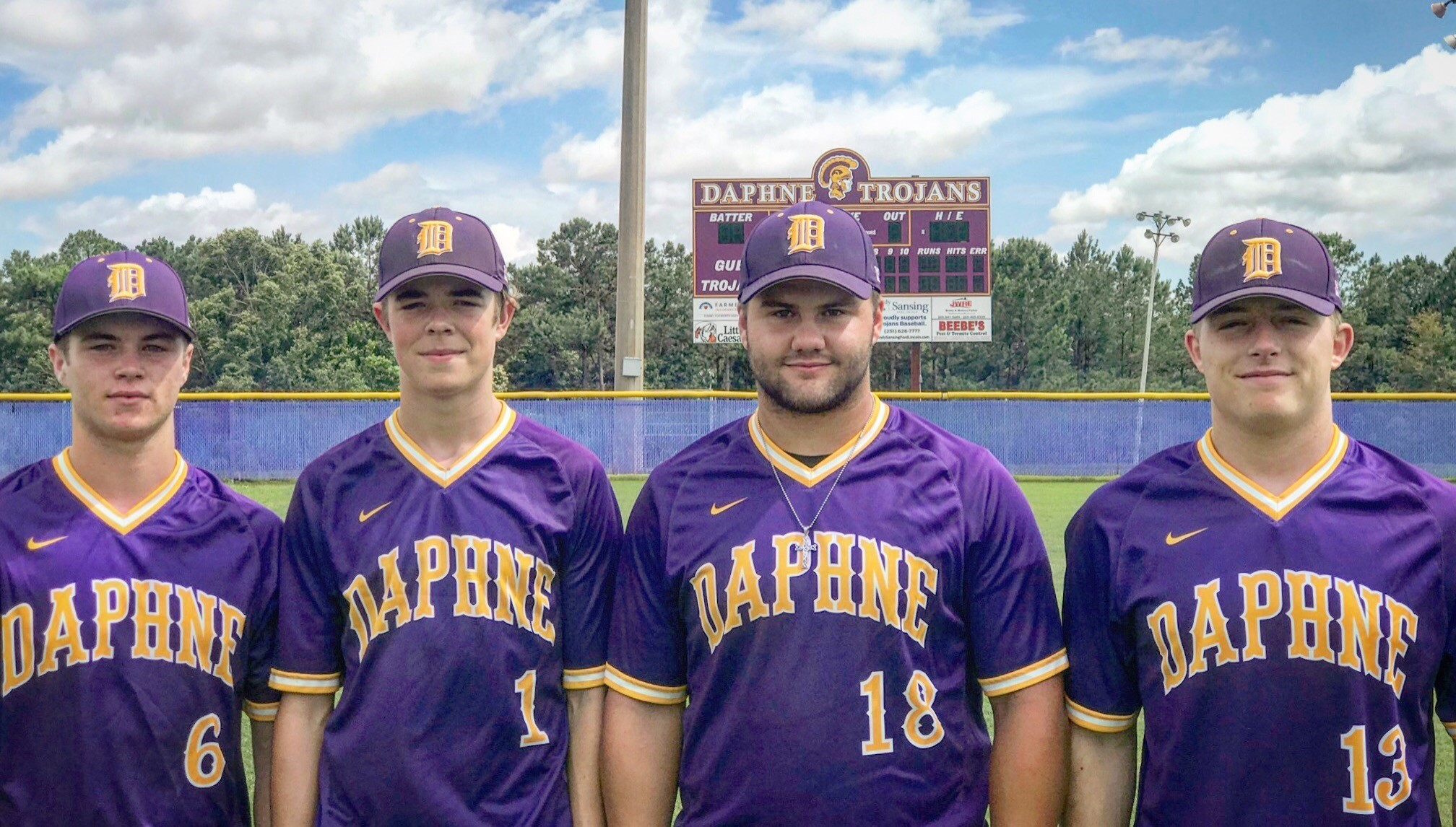 From left, DHS players Caleb Harlan (junior), Sam Bowman (sophomore), Zach Hansen (senior) and Dillon Whitfield (senior) were named to the 2018 All-Baldwin County Baseball Team.