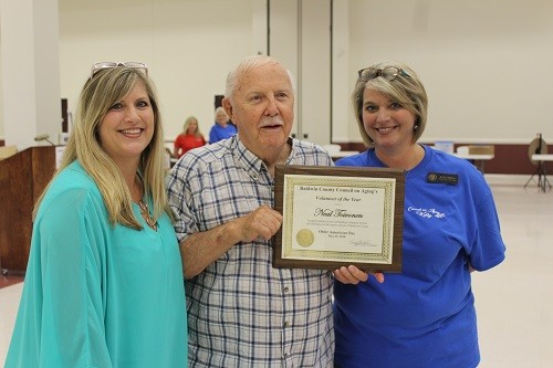 Council on Aging Volunteer of the Year recipient Neal Toivonen of the Summerdale S.A.I.L. Center is pictured with S.A.I.L. Center Manager Karen Howard and Council on Aging Coordinator Kelly Childress.