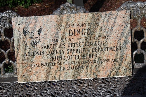 A plaque in honor of the Baldwin County Sheriff's Department's first canine officer, Dingo, will be displayed at the department's training center in Stapleton.